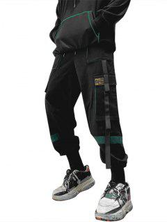 Drawstring Applique Detail Contrast Cargo Pants - Deep Green S