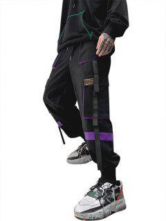 Drawstring Applique Detail Contrast Cargo Pants - Purple L