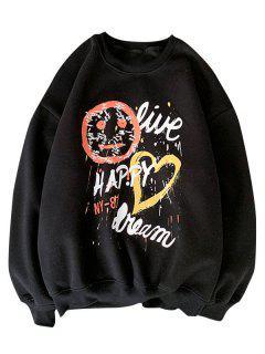 Sweat-shirt à Imprimé Lettre Et Coeur - Noir S