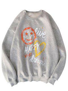 Gesicht Herz Buchstabe Druck Grafik Sweatshirt - Hellgrau S