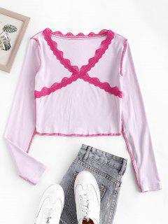 Camiseta De Bebé Manga Larga Costura Encaje - Rosa Claro S