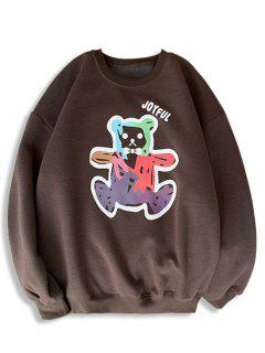 Cartoon Bear Print Rib-knit Trim Sweatshirt - Deep Coffee M