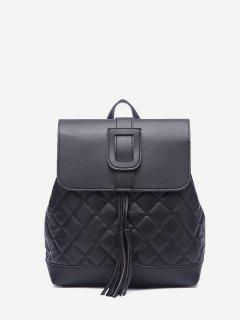 Tassel Quilted Solid Backpack - Black