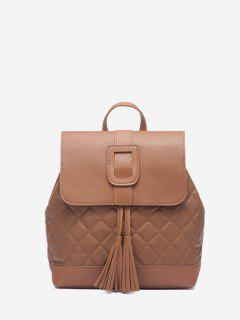 Tassel Quilted Solid Backpack - Light Brown