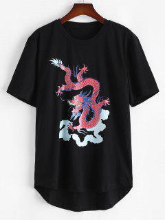 Short Sleeve Dragon Clouds Print T-shirt - Black S