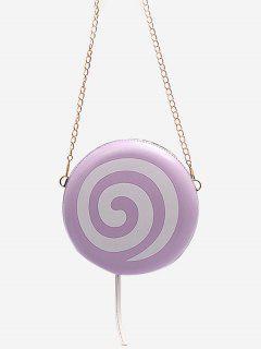 Lollipop Shape Chain Mini Round Crossbody Bag - Mauve
