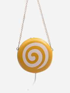 Lollipop Shape Chain Mini Round Crossbody Bag - Sun Yellow