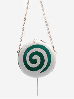Lollipop Shape Chain Mini Round Crossbody Bag - Greenish Blue