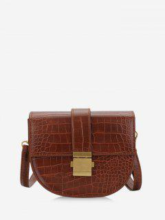 Textured Crossbody Saddle Bag - Light Brown