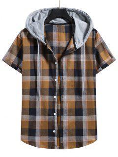 Contrast Hood Plaid Print Short Sleeve Shirt - Camel Brown 2xl