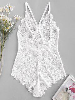 Flower Lace Scalloped Criss Cross Backless Lingerie Teddy - White S