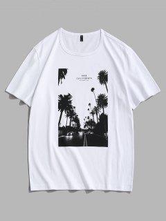 California Palm Tree Graphic T-shirt - White S