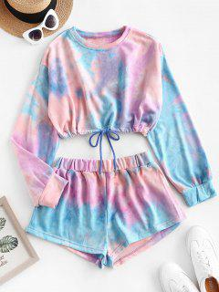 Lounge Tie Dye Drop Shoulder Shorts Set - Light Purple M