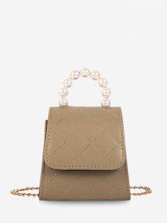 Faux Pearl Quilted Flap Chain Mini Crossbody Bag - Light Khaki