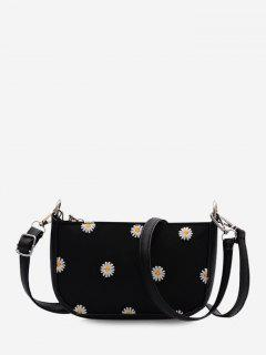 Daisy Flower Pattern Shoulder Bag - Black