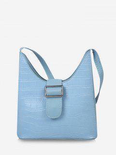 Buckle Embellished Shoulder Bag - Crystal Blue