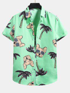 Palm Tree Dog Pattern Vacation Shirt - Mint Green 2xl