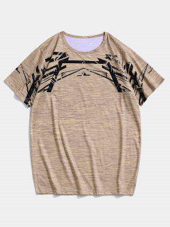 Meliertes Kurzärmliges Sport T-Shirt - Khaki L