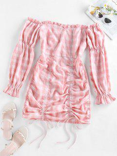 ZAFUL Off Shoulder Cinched Plaid Mini Dress - Pink M