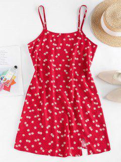 ZAFUL Daisy Floral Slit Cami Mini Dress - Red M