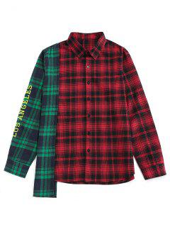 ZAFUL LOS ANGELES Colorblock Plaid Asymmetric Shirt - Multi S