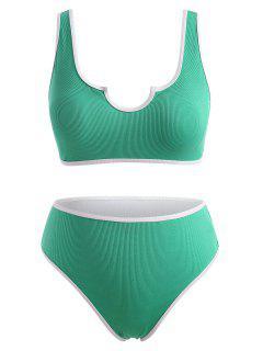 ZAFUL Ribbed V Notched Contrast Binding Bikini Swimwear - Light Green Xl