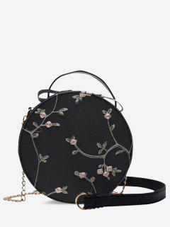 Embroidery Floral Lace Canteen Bag - Black