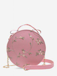 Embroidery Floral Lace Canteen Bag - Light Pink