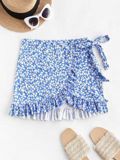 ZAFUL Leaf Print Bowknot Ruffle Tulip Hem Beach Skirt - Blue S