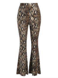Snakeskin High Waisted Flared Pants - Deep Coffee M