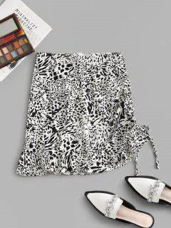 Leopard Cinched Tie Flounce Skirt - White M