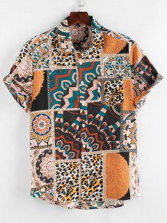 ZAFUL Bohemian Leopard Patchwork Print Pocket Shirt - Light Coffee L