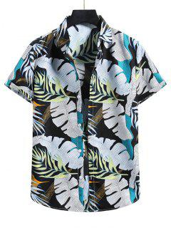 Tropical Leaf Vacation Shirt - Black L