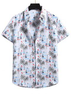 Palm Tree Short Sleeve Vacation Shirt - White L