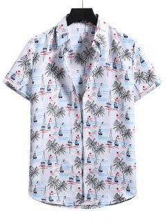 Palm Tree Short Sleeve Vacation Shirt - White S