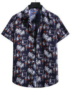 Palm Tree Short Sleeve Vacation Shirt - Denim Dark Blue L