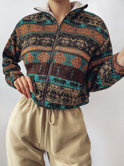 sale ZAFUL Tribal Print Plaid Faux Fur Lined Jacket - MULTI S Mobile