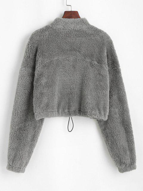 online ZAFUL Half Zip Plush Cropped Sweatshirt - ASH GRAY M Mobile