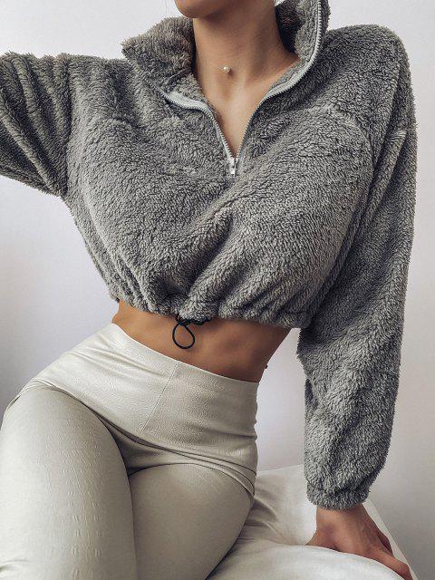 shops ZAFUL Half Zip Plush Cropped Sweatshirt - ASH GRAY L Mobile