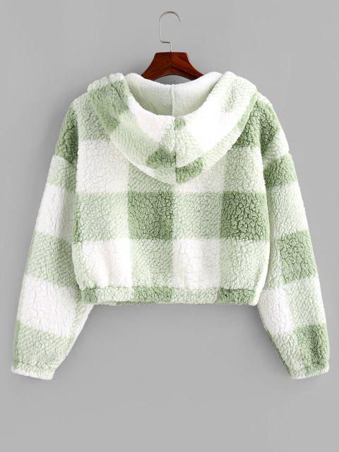 womens ZAFUL Colorblock Short Teddy Hoodie - LIGHT GREEN M Mobile