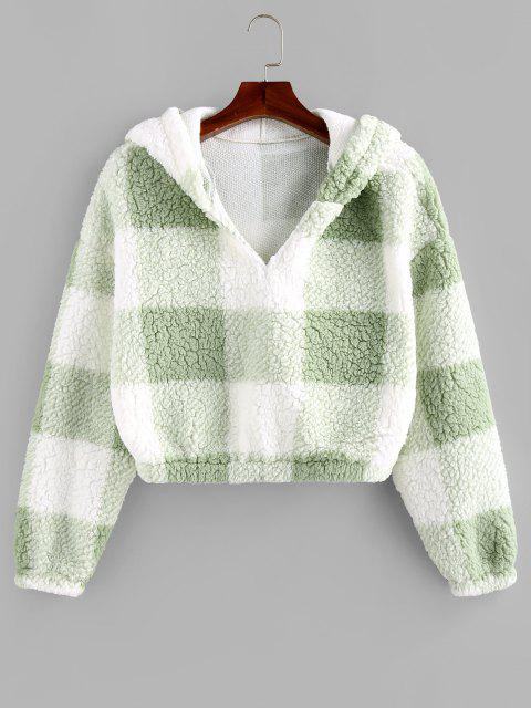 sale ZAFUL Colorblock Short Teddy Hoodie - LIGHT GREEN L Mobile