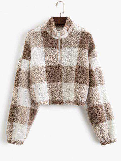 womens ZAFUL Half Zip Plaid Teddy Sweatshirt - COFFEE L Mobile