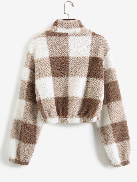 hot ZAFUL Half Zip Plaid Teddy Sweatshirt - COFFEE XL Mobile