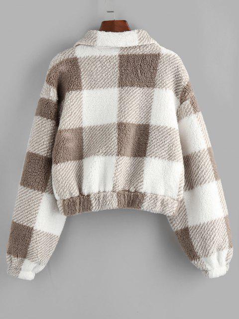 unique ZAFUL Plaid Drop Shoulder Pocket Teddy Coat - KHAKI S Mobile