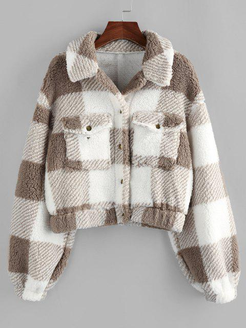 fashion ZAFUL Plaid Drop Shoulder Pocket Teddy Coat - KHAKI M Mobile