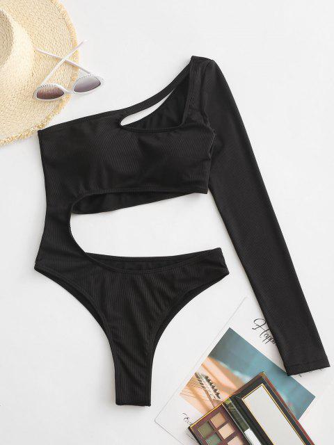 shop ZAFUL One Shoulder Rib Long Sleeve Cutout One-piece Swimsuit - BLACK M Mobile
