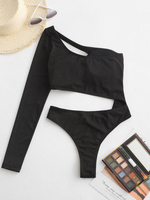 latest ZAFUL One Shoulder Rib Long Sleeve Cutout One-piece Swimsuit - BLACK XL Mobile