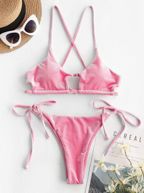 online ZAFUL Ribbed Velvet Cutout String Bikini Swimwear - HOT PINK M Mobile