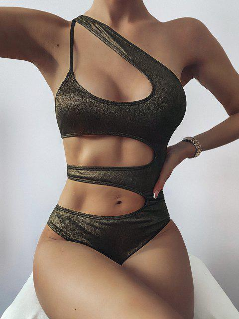 buy ZAFUL Shiny Cutout One Shoulder One-piece Swimsuit - BLACK M Mobile
