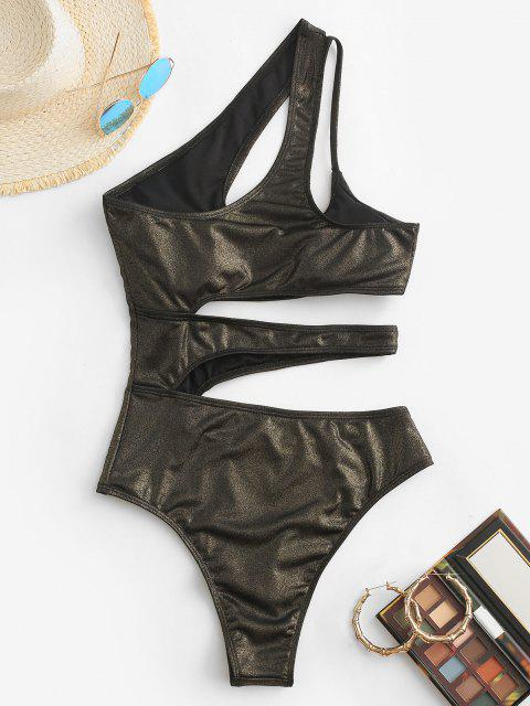 affordable ZAFUL Shiny Cutout One Shoulder One-piece Swimsuit - BLACK S Mobile